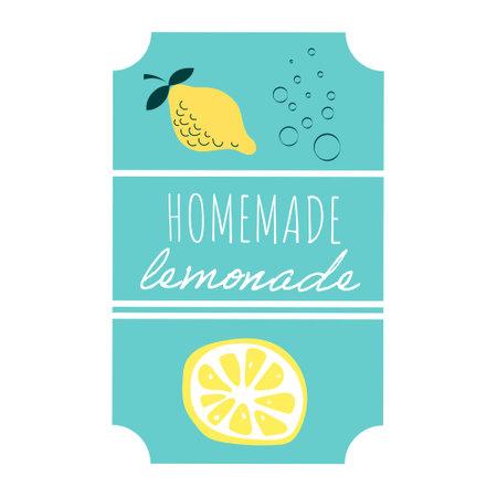 Homemade lemonade lable vector illustration in cartoon style