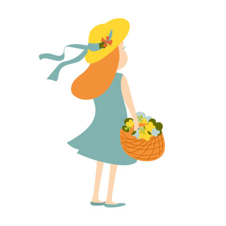 Young girl in summer hat and dress standing in the wind with basket of flowers. Holiday vector illustration Illusztráció
