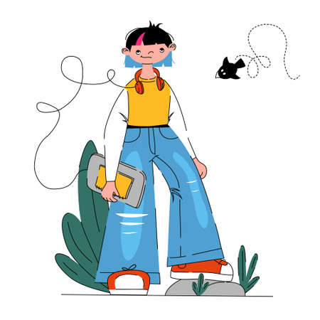 Teenager student with notebook ready to come back to offline school. Flat vector illustration for education or teenage lifestyle