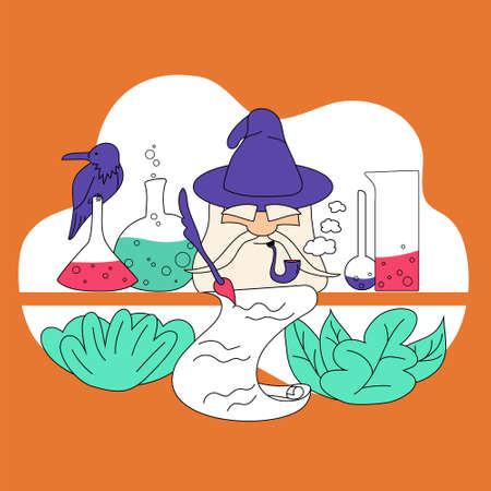 Magician in hat writing with pen, vector illustration. Concept for science, sign in or sign up form