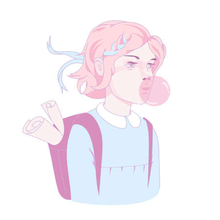 Cartoon teenage girl student blowing pink bubblegum ball with backpack ready to go back to school