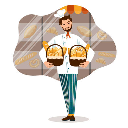 Smiling Baker with bread baskets and bakery shop vector illustration. small business concept Illusztráció