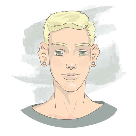 Handsome blond young man with tunnels in ears,  portrait for avatar, cute smiling face Illusztráció