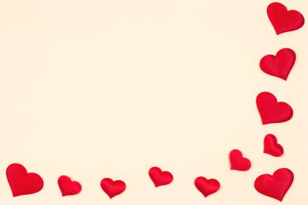 Valentine's day background. Red hearts on a pink background. Valentine's day concept. Flat lounger, top view, copy space Reklamní fotografie