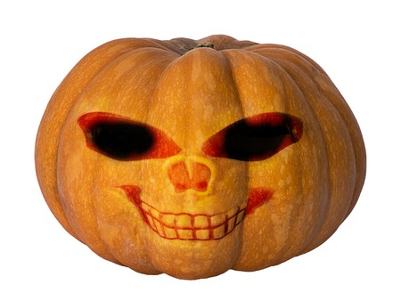 pumpkin with face and smile for halloween isolated on white background