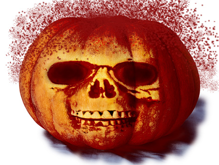 pumpkin with a face with blood spray for halloween isolated on white background