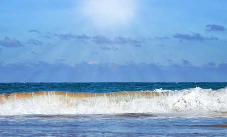 Sandy beach on a deserted wide ocean cost. Cantabrie.Spain. Stock Photo