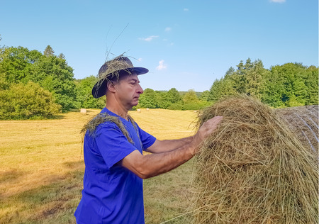 A farmer in a hat touches the straw in a stack after harvesting wheat. 版權商用圖片