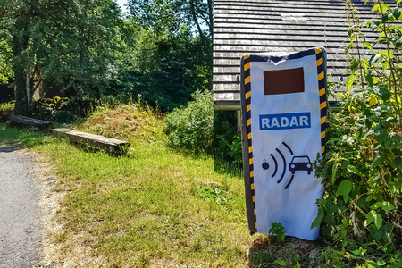 Fake radar on the side of the road. The joke of the villagers.
