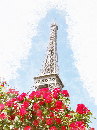 The Eiffel Tower in the red rose bushes is stylized as a watercolor painting.