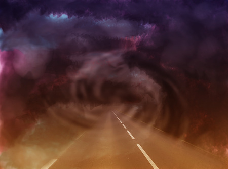 Mysterious road in the abstract world through a gloomy tunnel in the form of a ghostly spiral.