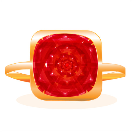 Golden ring with a large red ruby Ilustração