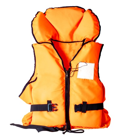 orange life jacket isolated on white background