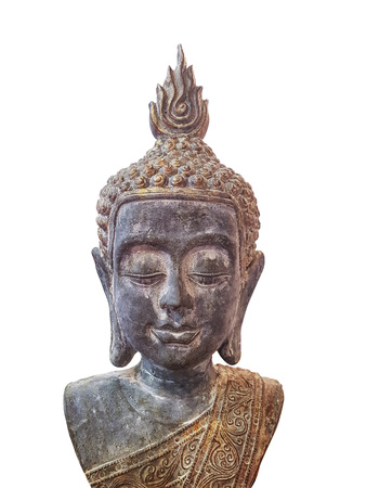 Buddha figurine head isolated on white background