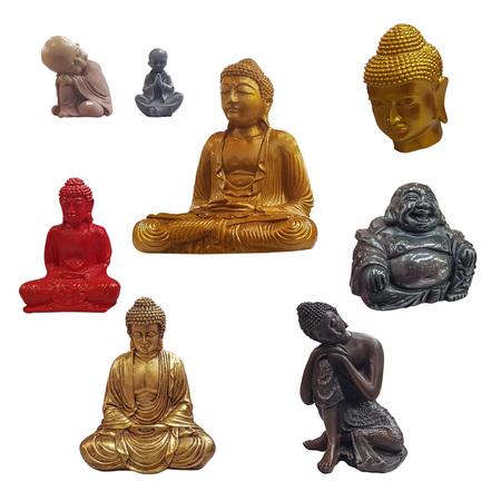 Set of Buddha figurines isolated on white background Stock fotó