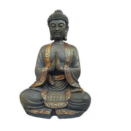 Buddha figurine with folded arms isolated on white background Stock Photo