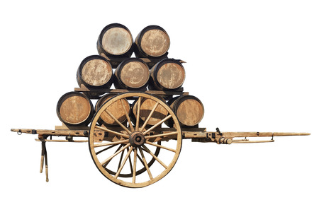 Two-wheeled wooden wagon retro with barrels of wine isolated on white background