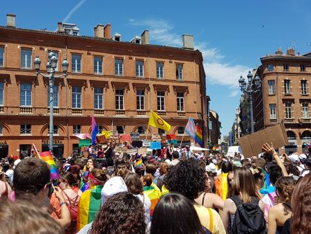 June 08, 2019, Toulouse, France. Pride March in the place of Capitole.