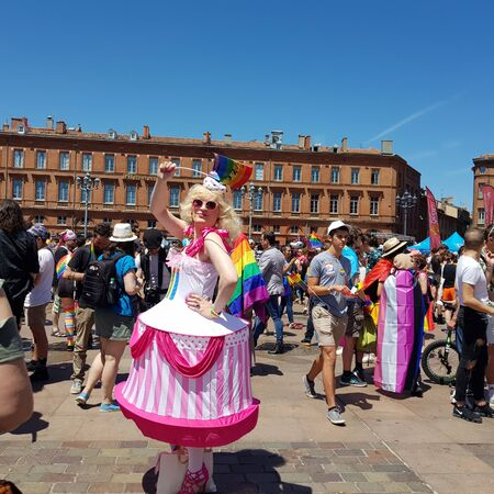 June 08, 2019, Toulouse, France. Pride March in the Capitol square of the city. 에디토리얼