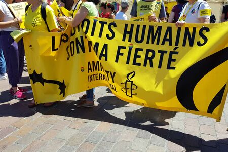 June 08, 2019, Toulouse, France. Amnesty international on Pride March . Inscription in french Human rights are my pride.