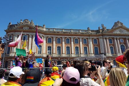 June 08, 2019, Toulouse, France. Pride March in the place of Capitol.