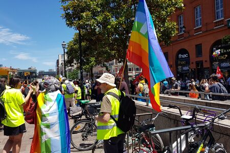 June 08, 2019, Toulouse, France. Pride March and demonstration of yellow vests .