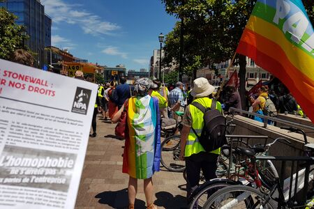 June 08, 2019, Toulouse, France. Mouvement of Yellow vests support Pride March. French anti-homophobia leaflet. 에디토리얼