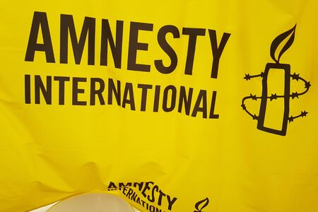 June 08, 2019, Toulouse, France. Poster of Amnesty international during Pride March