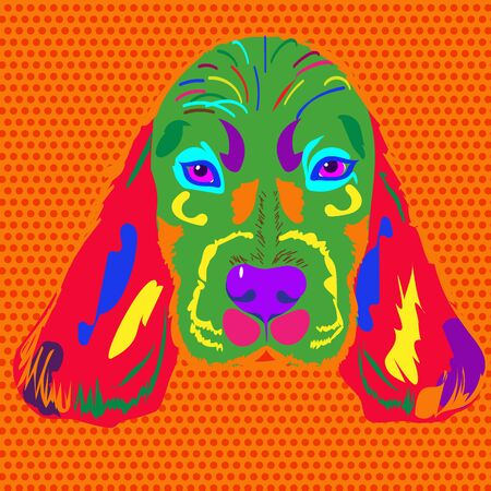 Multicolor head of the dog breed Spaniel in pop style Illustration
