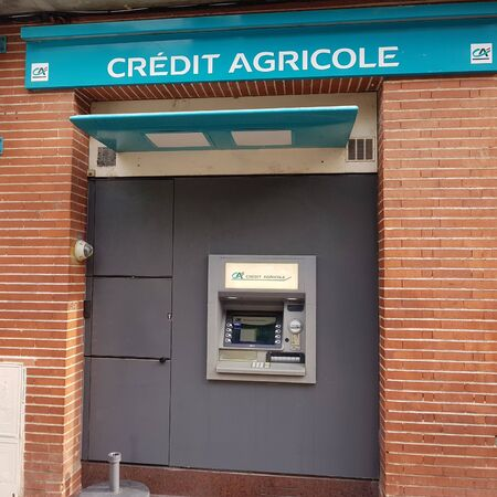 June 25, 2019, Toulouse, France. Self service terminal for banking of Credit Agricole bank. 에디토리얼