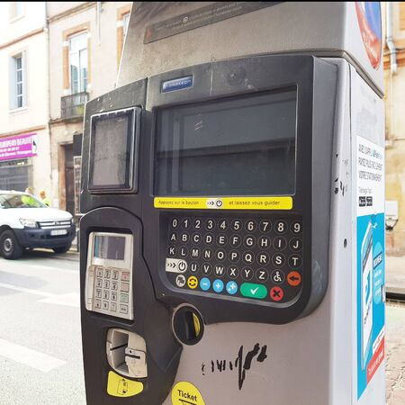 June 08, 2019, Toulouse, France. Automatic payment for parking places in the city. 에디토리얼