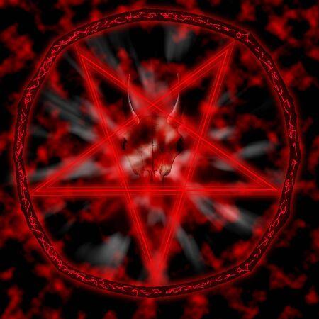 Stylish pentagram with satanic goat skulls and star .