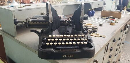 July 29, 2019, Albi, France. Retro typewriter at the garage also known as yard , tag , moving sale