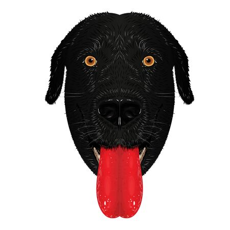 The head of a black labrador dog with yellow eyes and a protruding red tongue. Realistic graphic vector drawing closeup.