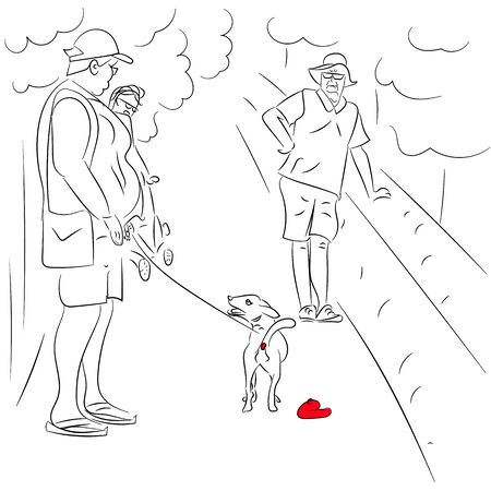 Illustration of a scene from urban life. A dog on a leash pooping in the center of the street in front of passers-by.