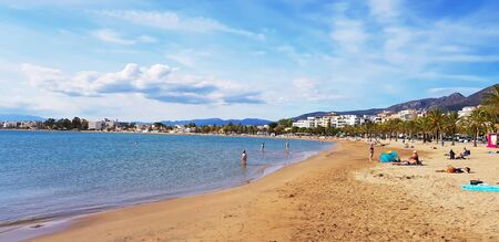 23 September 2019, Roses, Spain. Beach of Mediterranean in Costa Brava on autumn