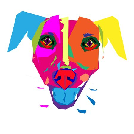 The head of a multicolor dog with protruding blue tongue. Graphic vector image made with colorfull sharp shapes .