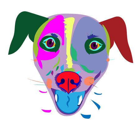Fanny vector image of multicolor dogs head in pop style isolated on white background. Stock Illustratie