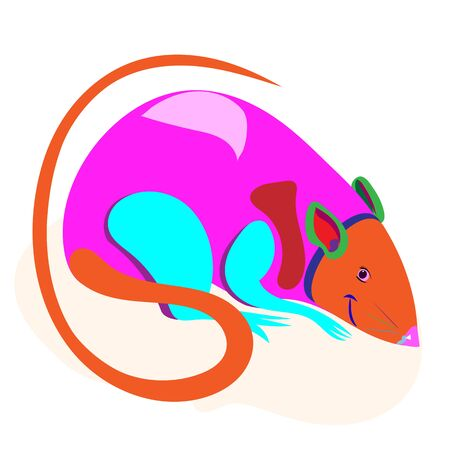 Vector image of rat multicolor in pop style. Symbol of 2020 new year chinese.