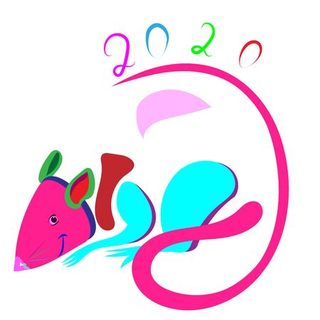 Vector image of multicolor rat in pop style . New year chinese concept .