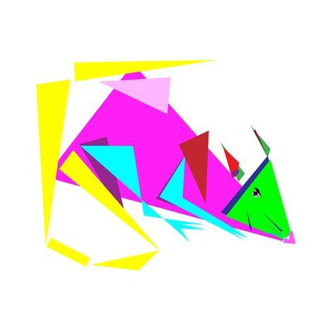 Multicolor abstract geometric composition of rat, animql Ilustração