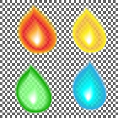 A set of drops of different colors representing various liquids like water, oil, honey, juice and more. Vector realistic images with bokeh. isolated on transparent background.