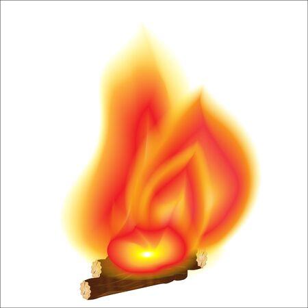 Bonfire on wood isolated on white background. Vector illustration . Stock Illustratie