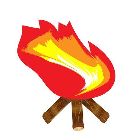 Vector illustration of blazing bonfire on wood isolated on white background