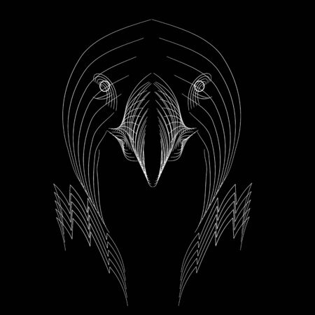 Eagle head made from white lines on black background. Logo concept design, vector template for print, tatoo, team badge. Vector illustration .