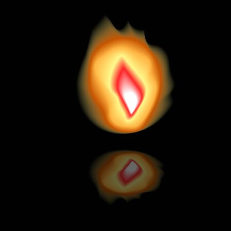 Flame with reflection on a black surface. . Vector illustration . Stock Illustratie