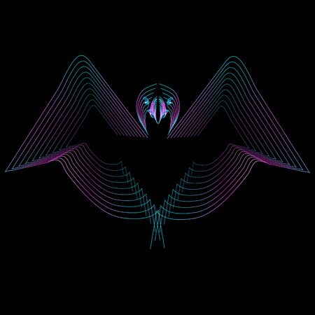 Bird American Eagle made from neon lines on black background. Logo concept design, vector template for print, tatoo, team badge. Vector illustration .