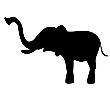 Black elephant silhouette or shadow. Vector illustration.