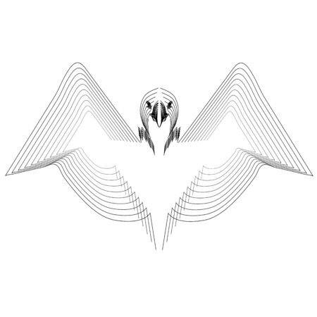 Bird American Eagle made from black lines on white background. Logo concept design, vector template for print, tatoo, team badge. Vector illustration . Stock Illustratie