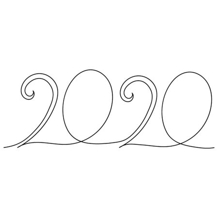 2020 New Year continuous line art. Minimalism sketch hand drawn decoration. Vector illustration with black outline drawing on white background. Can be used as continuous horizontal decoration.